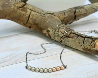 beaded bar pearl necklace, dainty sterling silver chain, antiqued rose pink gray pearl, beaded layering necklace, swarovski pearls, choker