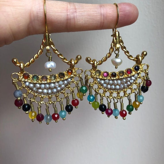 Turkish Jewelry Earrings Gemstone Turquoise Pearl 24k Gold Plated Bronze