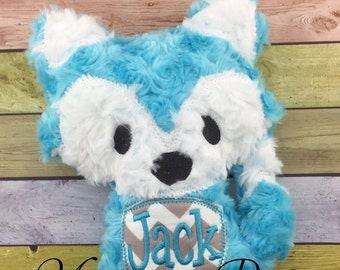 Personalized Teal Blue Stuffed Fluffy Plush Woodland Fox