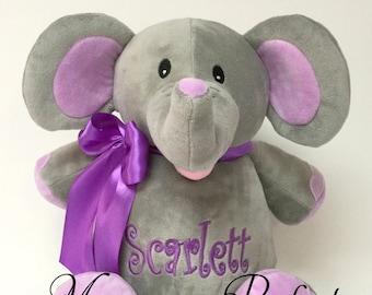 "Personalized 16"" Plush Elephant Stuffed Animal with purple ears"