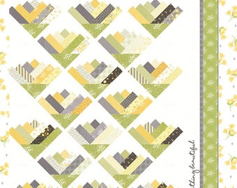 """PATTERN:  LEMONGRASS - CQ 129 - Jelly Roll Friendly - 69"""" x 83"""" - Coriander Quilts by Corey Yoder - Twin - Full Size - Pepper and Flax"""