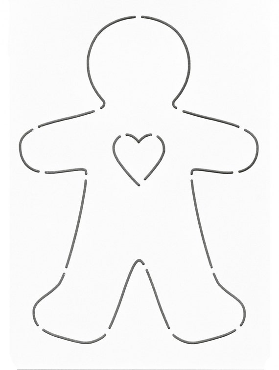 image regarding Printable Gingerbread Man titled Concept - Stencil - Template: Gingerbread Person - Middle - Layer Cake Pleasant - Applique Stencil - Template - Laundry Basket Quilts