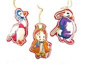 Vintage Handmade Whimsical Animal Felt Ornaments Set Of 3