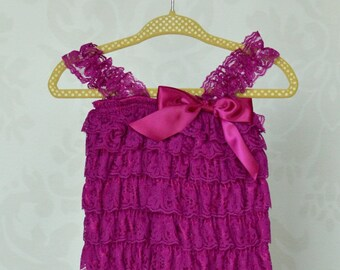 Orchid Purple Vintage Lace Baby Girl Romper, Baby Girls Coming Home Outfit, Baby Christening Dress or 1st Birthday Outfit