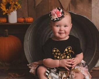 Pink Black Gold Baby Skirt Minnie Mouse Tutu Minnie Mouse Skirt Baby Tutu Birthday 1st Birthday Baby Girl Polka Dot Fabric Tutu Rag Tie Tutu