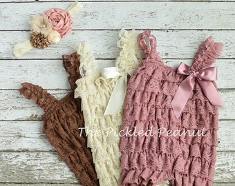 Dusty Rose Pink, Ivory or Brown Vintage Lace Baby Girl Romper, Baby Girls Coming Home Outfit, Baby Christening Dress or 1st Birthday Outfit