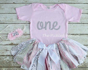 1st Birthday Girl Outfit 1st Birthday Outfit Baby Tutu Baby Girl Baby Outfit Birthday Outfit Fabric Tutu Cake Smash Baby Skirt Pink Silver