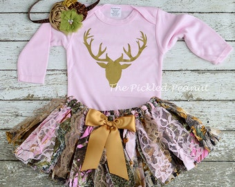 f6f250841e59 Pink Camo Camouflage Deer Hunting Duck Hunting Shabby Chic Rag Tie Fabric  Tutu Headband 1st birthday skirt baby toddler baby girl cake smash