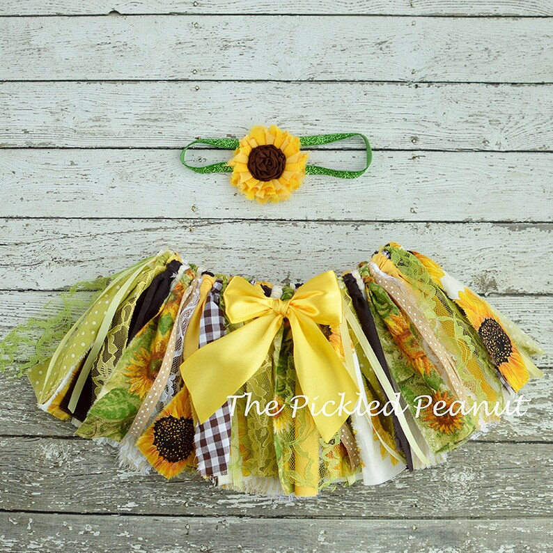 88c56f18c7b Sunflower Baby Romper   Baby Headband Sunflower Girl Cake