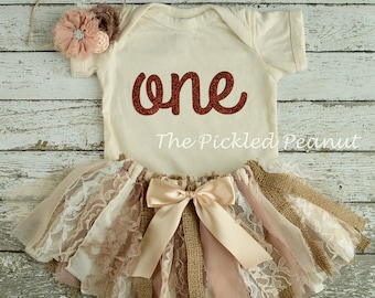 Vintage Tutu Shabby Chic Birthday Outfit 1st Birthday Outfit Baby Tutu Baby Skirt Lace Burlap Tutu Country Chic 3 Piece Cake Smash Set