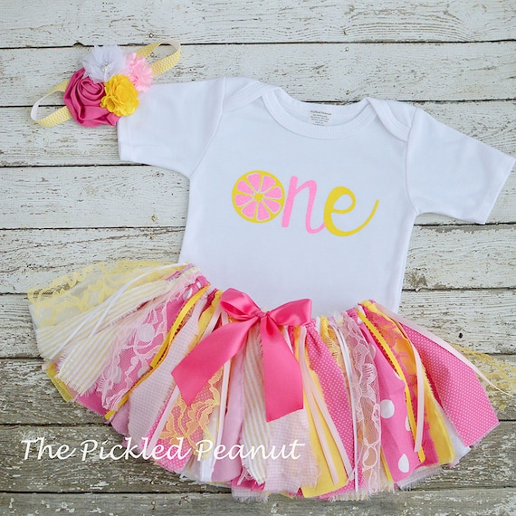 Personalized Baby Girl Pink Lemonade 1st Birthday Tutu Outfit