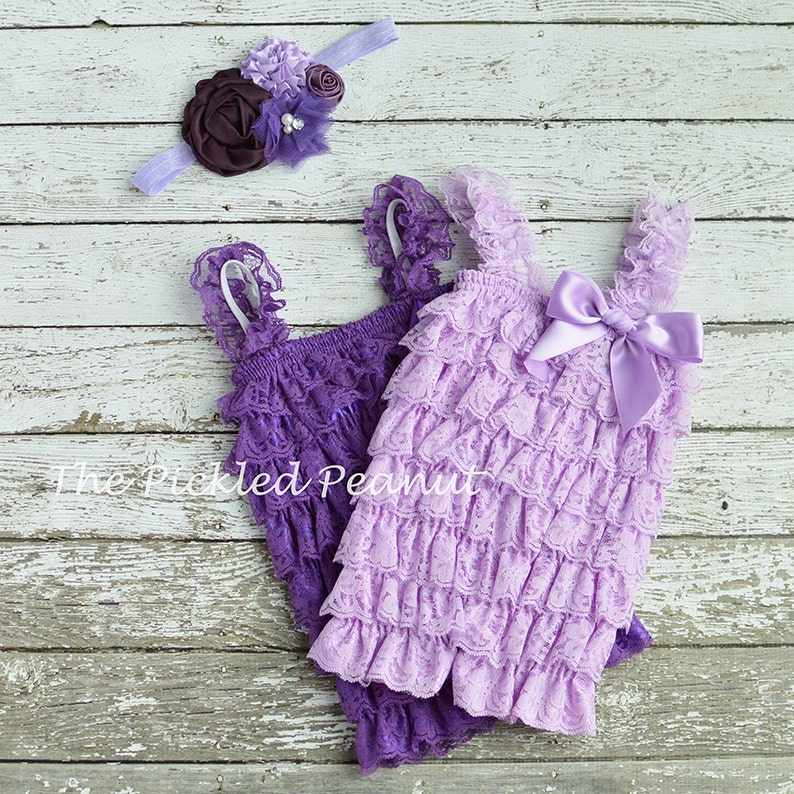 9518cb9f66a1 Purple Baby Romper and Baby Headband Newborn Romper and