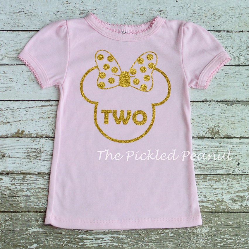 50cde6af270 Pink Gold Glitter Minnie Mouse Birthday Shirt 1st Birthday 2nd   Etsy