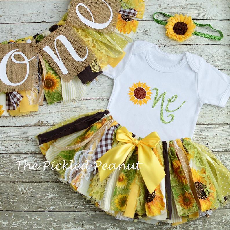 c85b9a8cb Sunflower 1st Birthday Girl Outfit & Birthday Banner Birthday | Etsy