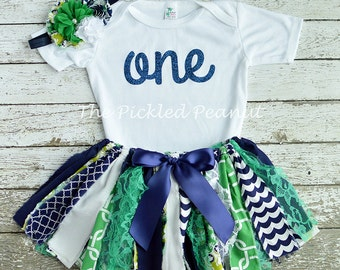 Baby Tutu Baby Outfit 1st Birthday Outfit Birthday Tutu Cake Smash Outfit Birthday Outfit Toddler Tutu Fabric Tutu Baby Skirt Navy Green