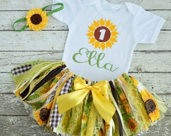 Sunflower 1st Birthday Girl Outfit Girl Birthday Outfit Sunflower Tutu Baby Girl Sunflower Cake Smash Girl Outfit Fabric Tutu Girl Dress