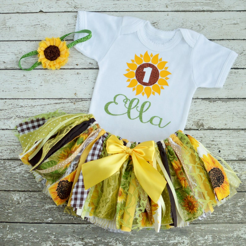 a3d2d33ea76 Sunflower 1st Birthday Girl Outfit Girl Birthday Outfit