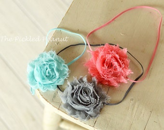 1 ~ Pink Aqua or Gray Vintage Shabby Chic Rosette Flower Baby Bow Headband Head Piece Hair Clip ~ toddler girl babies pastel