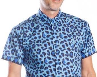 Blue Leopard Shirt - short-sleeved - BAÏSAP