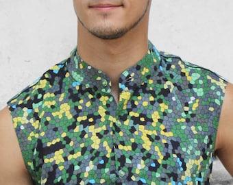 Sleeveless button down shirt mens - Lizard - BAÏSAP