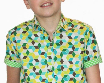 Boys green check shirt, short sleeve - 3D