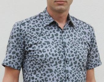 Grey Leopard print shirt, short sleeve - BAÏSAP