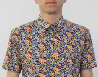 Liberty print shirt, short sleeve - Dandelion
