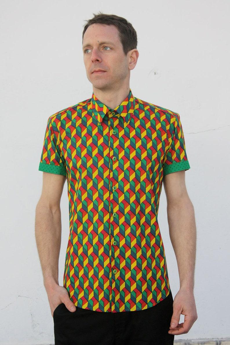 52330951aa Camisas estampadas hombre manga corta Arlequín BAÏSAP