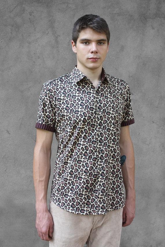 affce6cbf8 Leopard print shirt mens short sleeve Cheetah