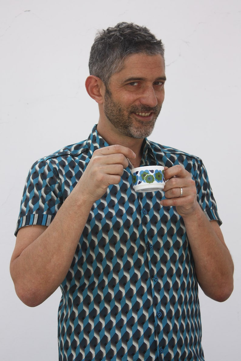 Teal BA\u00cfSAP S size Mens printed short sleeve shirts