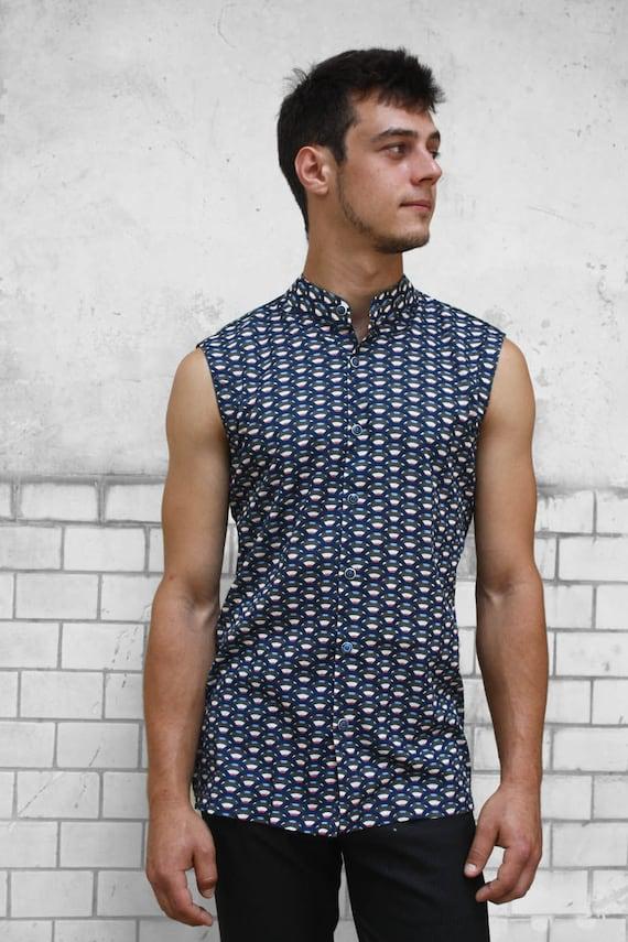 Sleeveless button down shirt mens - Scale - BAÏSAP 4H7F17