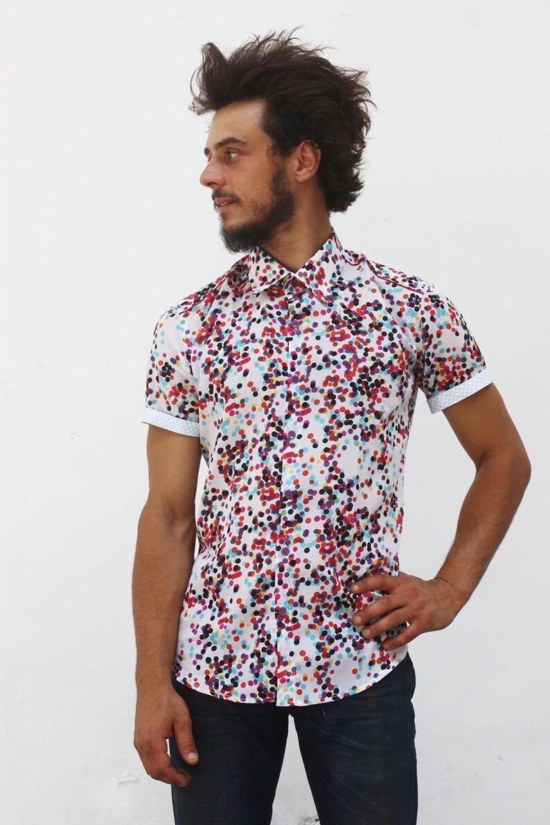 16beb9eef0 Camisa lunares hombre manga corta Confetis BAÏSAP