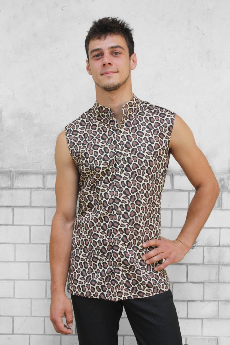 490c3dc43b4f Mens sleeveless shirts Cheetah BAÏSAP | Etsy
