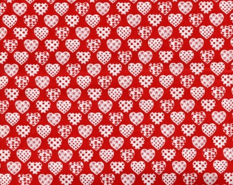 White Hearts on Red Fabric – Only One Half Yard Available