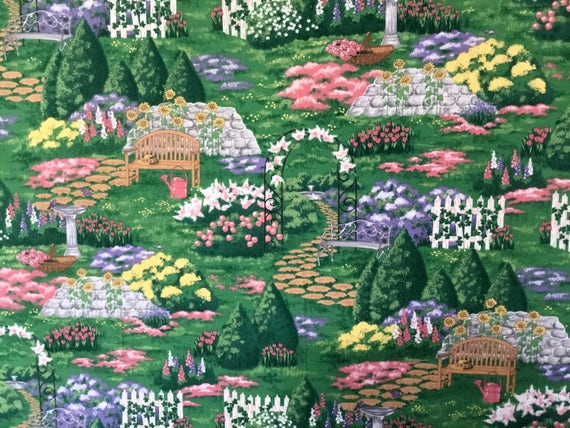 Incredible Garden Flowers And Benches Fabric By The Half Yard Squirreltailoven Fun Painted Chair Ideas Images Squirreltailovenorg