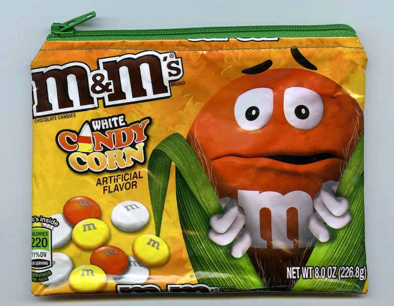 NEW M/&M\u2019s Candy Corn Wrapper Up-cycled Zippered BagPouch