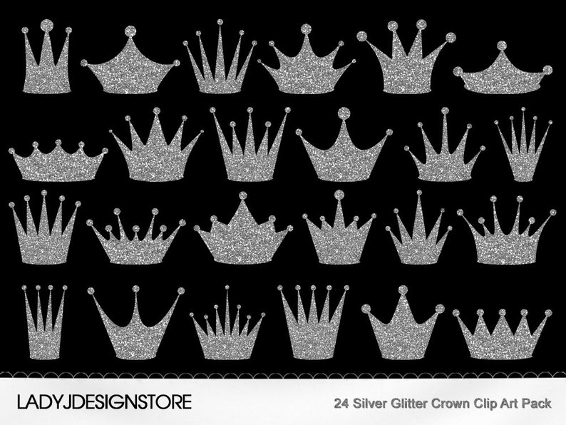 Silver Glitter Crown Clip Art Pack-24 Digital clip art crowns for  invitations, scrapbooking - PNG, Original Clip Art
