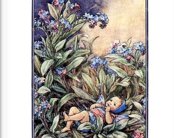 Victorian Fairy Flower Print Fantasy Picture Girl Bedroom Child Baby Nursery Playroom Garden Antique Wall Art Decor Forget Me Not bf 313