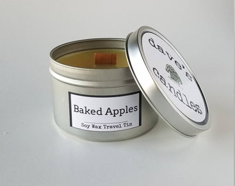 Baked Apples, 8oz Soy Candle Tin with Wood Wick