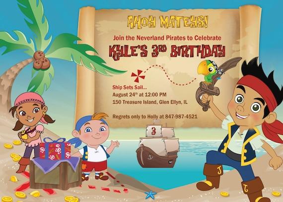 Jake Y La Invitación De Piratas De Nunca Jamás Invitan A Fiesta De Cumpleaños Para Imprimir