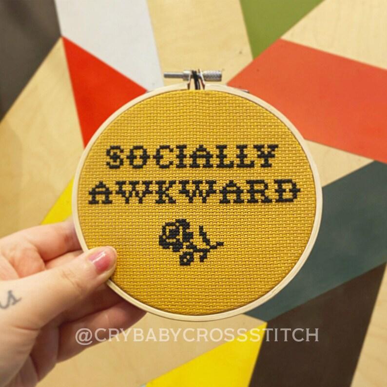 Introvert cross stitch Social Anxiety cross stitch Socially Awkward cross stitch