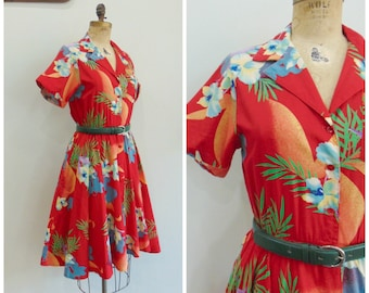 2a9959521c5 Vintage 1980 s Red Shirt Dress   Hawaiian Print   Fit n Flare   Act II    Size Small   Medium