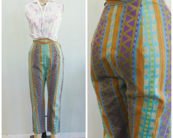 fb9870eff04 Vintage 1960 s Cotton Striped Cropped Pants   Pedal Pushers   Clam Diggers    Tribal Print Stripe   Size Extra Small