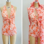 Vintage 1970's Two Piece Swim Set / Hooded Cover Up / Maillot / Tie Front / Orange White Polka Dot / As Is / Size Small / Medium / AS IS