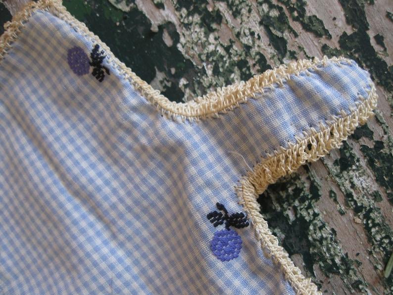 Vintage 1950/'s Hand Sewn Gloves Blue Floral Gingham