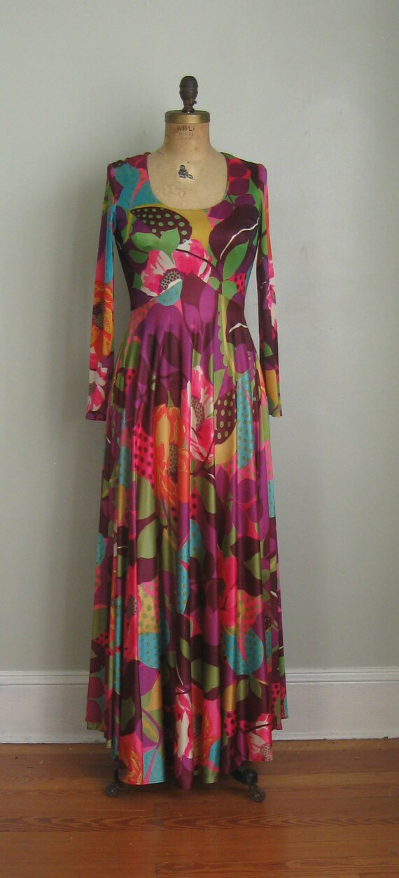 Small Skirt Pop Long Gown Dress Sleeved 1970's Size Sweeping Bold Maxi Print qTPg7wC