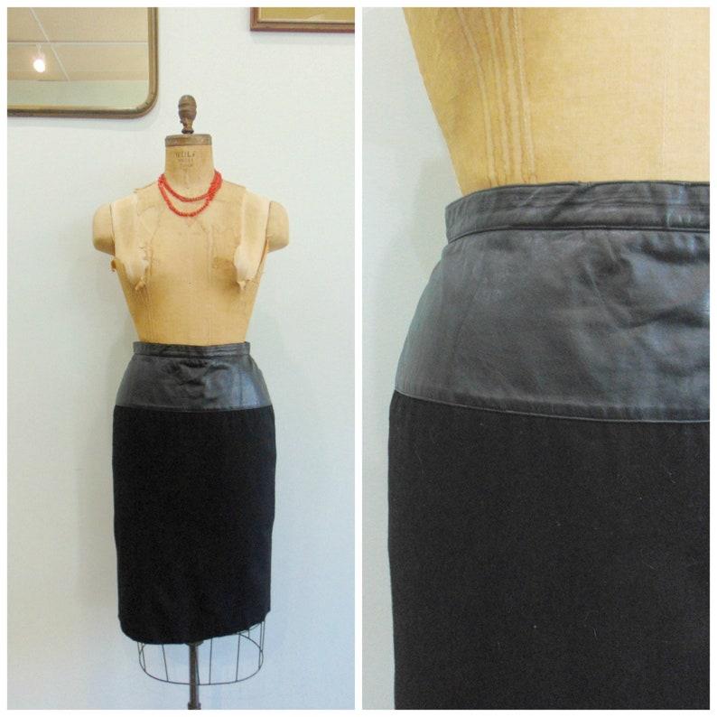 Vintage Black Leather and Wool Skirt / Jenvie Sport / Slim image 0