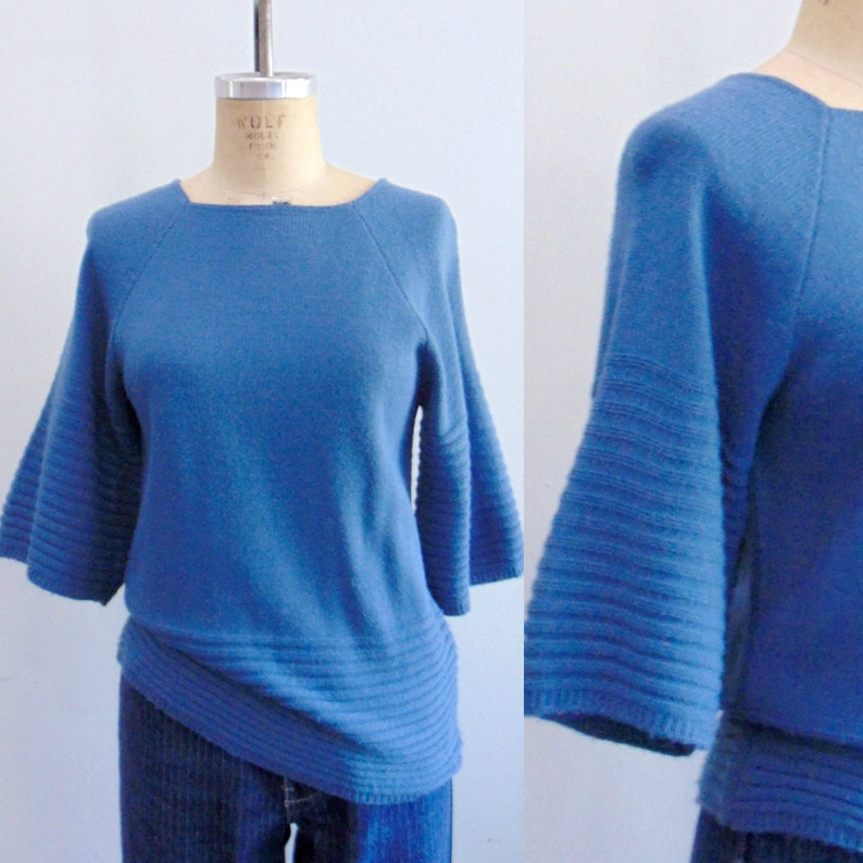 1980's Blue Sweater / Wide Ribbed Sleeves / Pullover image 0