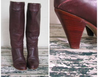 Vintage Oxblood Frye Boots// Foldover// Cone Heel// 6M