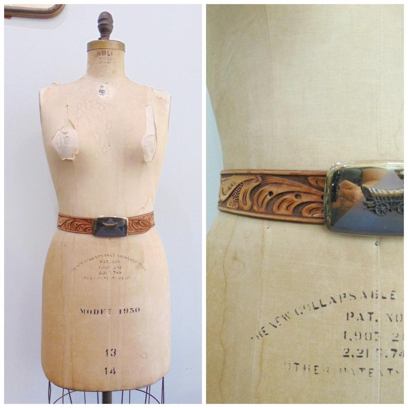 Vintage 1970's Tooled Leather Belt / Irene / Stagecoach image 0